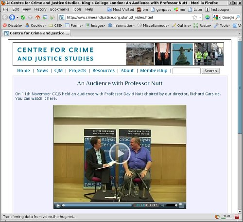 Screen shot of Professor Nutt video on CCJS site